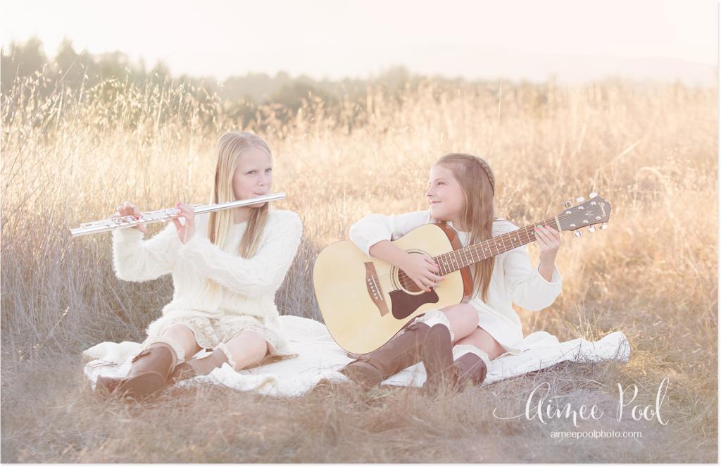 Girls Playing Flute & Guitar - www.aimeepoolphoto.com